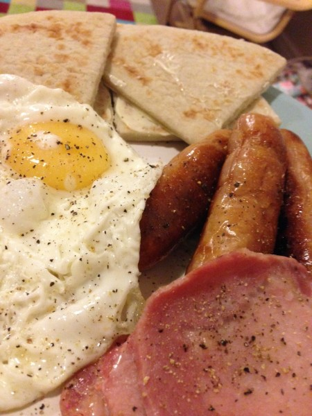 Sausage, egg and bacon