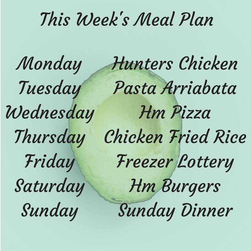 This Weeks meal plan 22 July